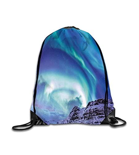 Zaino Personalizzato Inverno Aurora Borealis Kirkjufell Islanda Fenomeno Naturale Northen Ambiente Blu Mare Verde Lilla Fitness Beam Zaino, Zaino Sportivo, Borsa Scuola