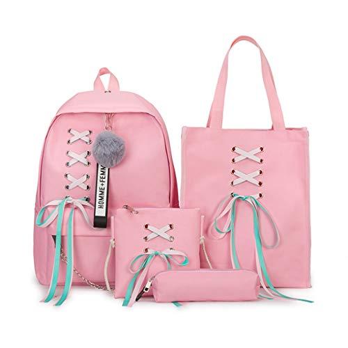 Qianqian56 4 Stks/Set Lint Ketting Bowknot Letter Canvas Rugzak Reizen Rugzakken Daypack Voor Tiener Meisjes School Bagpack roze
