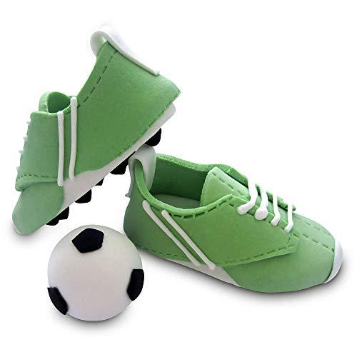 1 Paar Bombasei Zucker / Fondant Fussball Schuhe grün / weiss mit Ball, 107 g