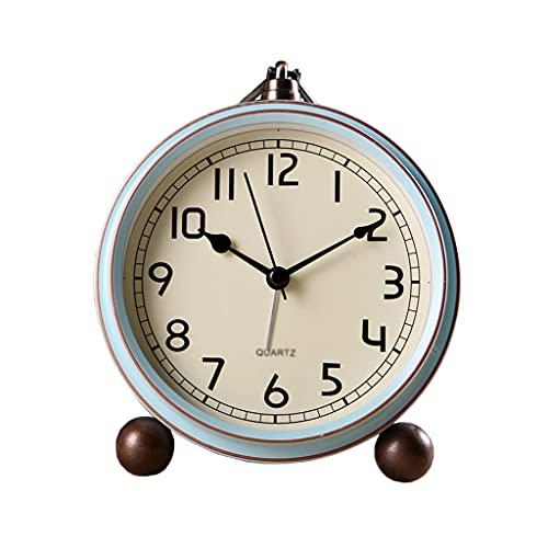 Escritorio Reloj Reloj Retro Silent Table Reloj Ninguno Tick Reloj de alarma EUROPEO DE ESTILO EUROPEO AGRANTES HOMBRES DORMITORIO CASA DE MESA DE MESA DE MESA DE BATERÍA Reloj Sobremesa ( Color : B )