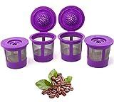 Cápsulas de filtro de café reutilizables K Cups para máquinas Keurig 1.0 y 2.0 – K-Cup recargable para K-Duo, K-Classic, K-Elite, K-Select, K-Cafe – 4 unidades de repuesto – Ajuste universal...