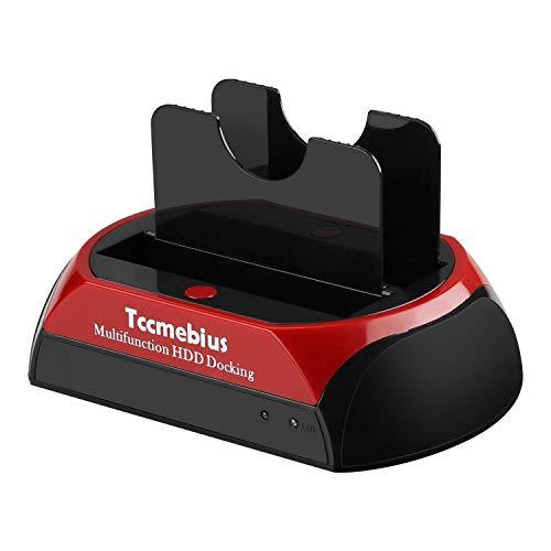 Tccmebius Hard Drive Docking Station, TCC-S867-US USB 2.0 to 2.5 3.5 Inch SATA IDE Dual Slots External HDD Enclosure, for 2.5' 3.5' IDE SATA I/II/III HDD SSD
