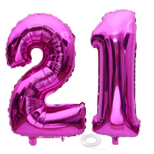 SNOWZAN Luftballon 21. Geburtstag Rose Mädchen Junge Zahl 21 Riesen Folienballon Helium Nummer 21 Luftballon Große Zahlen 21 Jahre XXL 21. Happy Birthday 32 Zoll Riese Zahl 21Geburtstag für Party
