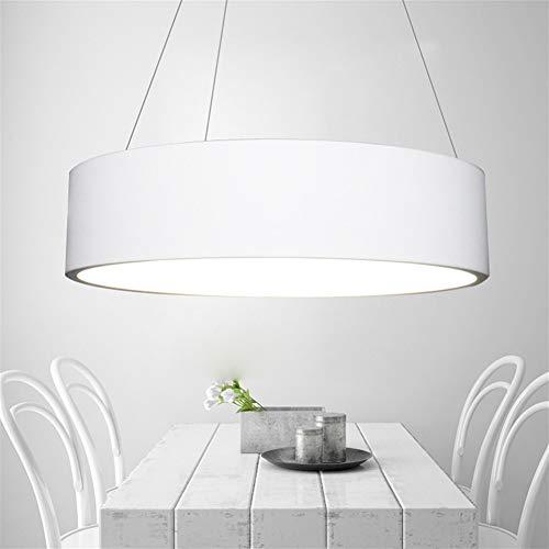 JUNYYANG Modern Art LED 55W Lámpara Del Techo Isla Anillo De Ajuste Decorativo Diseño Lámpara De Mesa Lámpara De Araña De Metal Colgando Lámpara Viva Dimmin Tricolor Acrílica (Color : White)