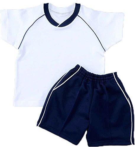 体操服 お受験子ども用体操服(Vネック紺)III上下セット裏地綿100% (110cm)