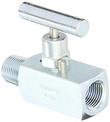 """PIC Gauge NV-CS-1/2-HS-180-MXF Carbon Steel Straight Needle Valve with Hydraulic Service Seat, 1/2"""" Male NPT x 1/2"""" Female NPT Connection Size, 10000 psi Pressure from PIC Gauges"""