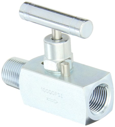 PIC Gauge NV-CS-1/2-HS-180-MXF Carbon Steel Straight Needle Valve with Hydraulic Service Seat, 1/2
