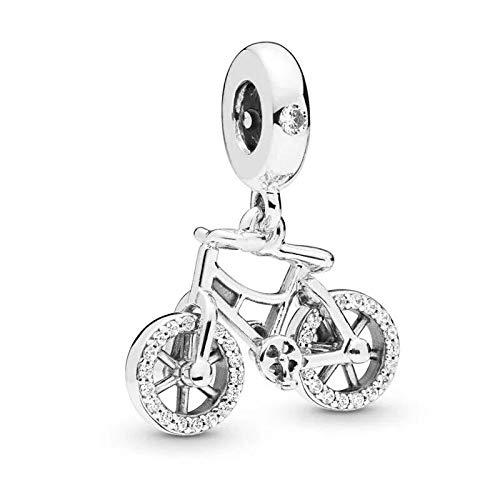 Pandora 925 colgante de plata esterlina Diy colgante de bicicleta real cuentas de circonio se ajustan a pulseras collares joyería que hace regalo para las mujeres