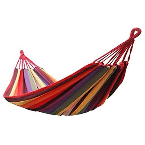Fesjoy Tragbare drinnen/draußen hängende Garten Leinwand Hängematte Leinwand Bett Camping hängende Veranda Hinterhof Schaukel Stuhl Reisen