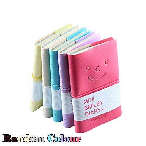 Mini smiley notebook, Crivers smile-design agenda/diario con gomma Band, One of the most Fashionable blocchetti per appunti con copertina in similpelle (colore casuale, confezione da 5)