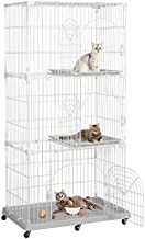 Yaheetech 3-Tier Large Wire Pet Cat Ferret Chinchilla Kitten Cage Condo Crate Playpen Kennel Enclosure on Wheels with Shelves Indoor Outdoor