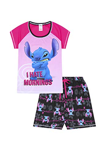 "The PyjamaFactory - Pigiama corto da donna Disney Lilo e Stitch con scritta ""I Hate Morning"" rosa 38/40 IT"