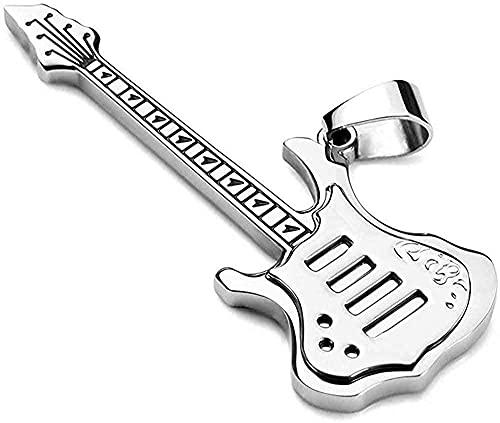 LKLFC Collar para Mujer, Collar para Hombre, joyería Colgante, Hombre, Mujer, Punk Rock, música, Guitarra, Collar, Acero Inoxidable, Instrumento Musical, Colgante, Collar, Regalo para niñas, niños