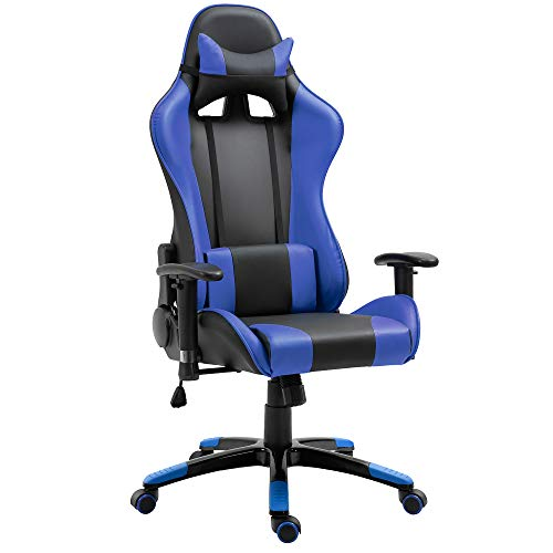 homcom Poltrona da Ufficio Gaming Girevole Reclinabile con Sostegno Lombare e Collo Ecopelle 67 x 67 x 123-132cm Nero-Blu