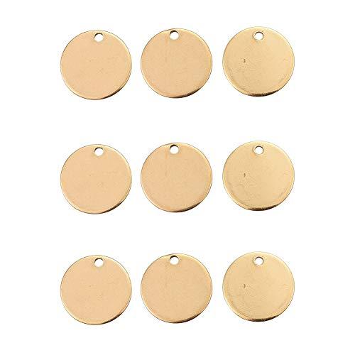 DanLingJewelry 304 RVS Blank Stamping Tag Platte Ronde Bedels Glad Oppervlak Hangers voor Armband Oorbel Ketting Hanger Bedels (Golden Color-100pcs, 15 x 1mm, Gat:1mm)