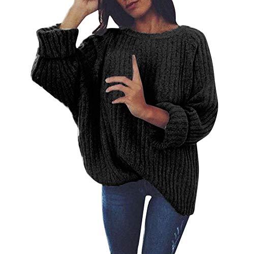 VEMOW Heißer Winter Herbst Elegante Damen Frauen Multicolor Striped Blume Pullover Casual Täglich Gestrickte Lose Langarm Pullover(X2-a-Schwarz, M)