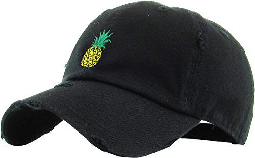 KBSV-024 BLK Pineapple Vintage Distressed Dad Hat Baseball Cap Polo Style Adjustable