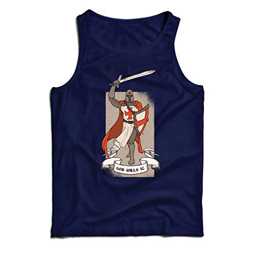 lepni.me Camisetas de Tirantes para Hombre ¡Dios lo Quiere! El Caballero Templario, Cruz Roja Cruzada (XX-Large Azul Multicolor)