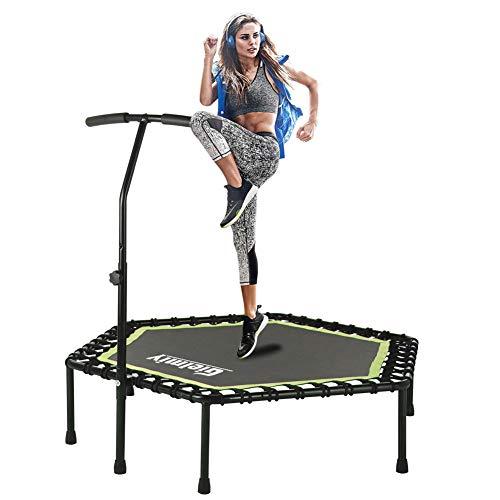 Gielmiy Mini trampolín silencioso de 122 cm para fitness, trampolín, entrenamiento de cardio, entrenamiento para adultos, límite máximo de 150 kg