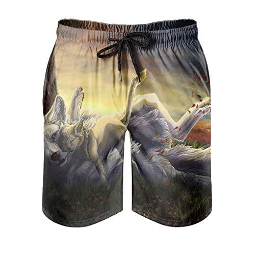 kikomia - Costume da bagno da uomo Fantasy lupo e cub foglie, stampa vintage, pantaloni da spiaggia con tasche bianche, taglia XL