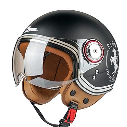 DXMRWJ Hombres Y Mujeres Vintage Casco de Moto Adultos Half-Helmet de Motocicleta ECE Homologado Casco Coche eléctrico Cascos Abiertos for Ciclomotor Crucero Retro Medio Casco Scooter Jet Casco
