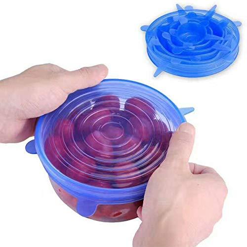 Lot de 6 couvercles en silicone pour bols de cuisine, économie d'aliments et de stockage (bleu) bleu