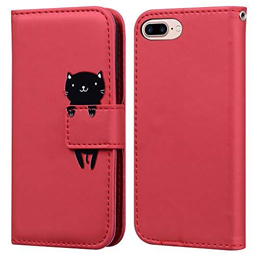Ailisi Cover iPhone 7 Plus/8 Plus, Red Flip Cover Cartoon Cute Cat Custodia Protettiva Caso Libro in Pelle PU con Portafoglio, Funzione Supporto, Chiusura Magnetica - Gatto, Rosso