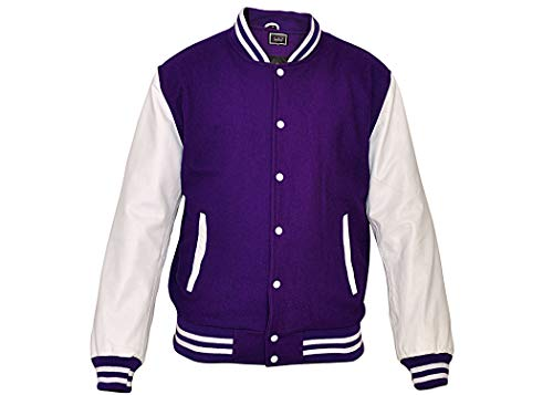 TRèS CHiC Mens Baseball Varsity College Letterman Jacket/Coat, White Genuine Leather Sleeves with Purple Wool Body, Size 7XL