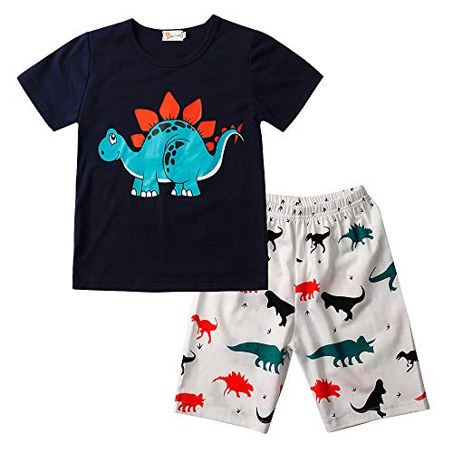 EULLA Jungen Schlafanzug Kurzarm Dinosaurier Tier Nachtwäsche Sleepwear 86 92 98 104 110 116 (01-Blau, 110 / Herstellergröße: 130)