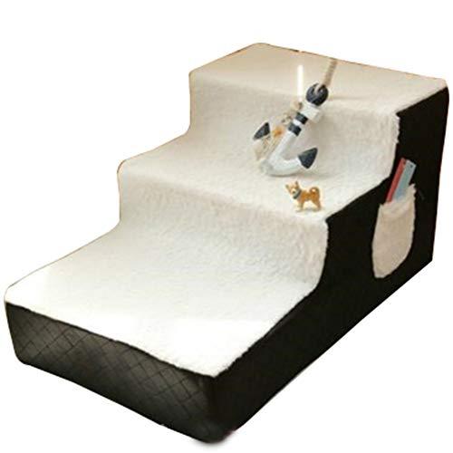 Escalera Mascota RZBAO De Tres Pisos De Escalera Perro De Mascota Pequeña Escalera Desmontable Y Lavable Limpieza Suave Conveniente Antideslizante Ligero (Color : Black, Size : 40x67x33cm)