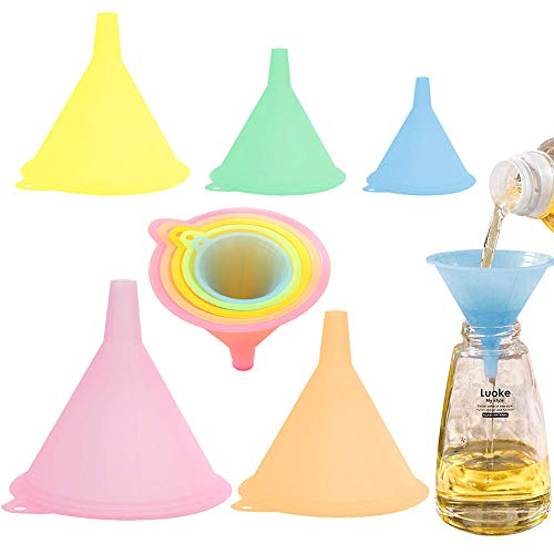 KANOSON Trichter Set Bunt, 5 Stück Trichter Plastik Küche Zum Befüllen Von Flaschen, Groß bis Klein Küche Trichter Set Kunststoff für zum Übertragen Von Flüssigem Öl und Pulver