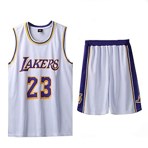 XYXYMM 23# Lakers James Jersey, Bambini Ragazzi da Basket, 2 Pezzi Pallacanestro Performance Maglia Canottiera di Asciugatura Rapida e Pantaloncini,Bianca,L