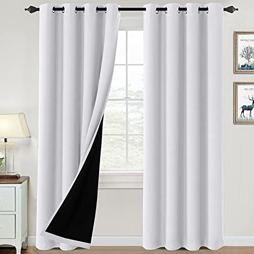 100% Blackout Curtains for Bedroom Thermal Insulated Blackout Curtains 84 inch Length Heat and Full Light Blocking Curtains Window Drapes for Living Room with Black Liner 2 Panels Set, Pure White