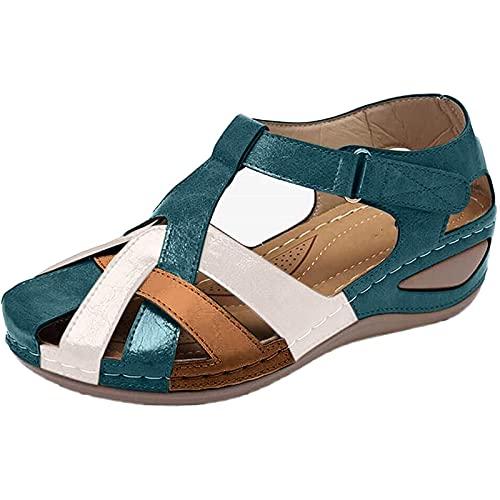 CHLDDHC Sandali da Donna Primavera Estate Tacco A Zeppa Sandalo Cavo Scarpe da Principessa per Bambina Sandalo Piatto da Esterno