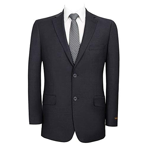 Men's Wool Blend Blazer Classic Fit Tweed Sport Coat Modern Winter Suit Jacket Dark Blue