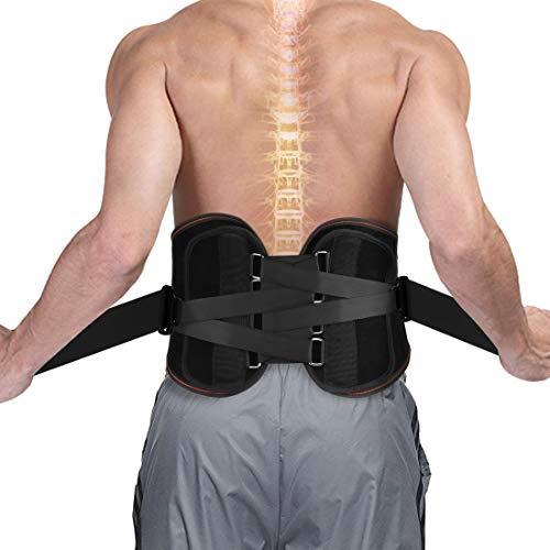 SZ-Climax Rückenbandage Lumbar unterstützt Verstellbare Doppel Stütz Gurte Sport oder arbeitsbedingte Schmerz-Rücken-Taille Unterstützung fit Männer und Frauen unteren Rückenschmerzen Brace | Schwarz