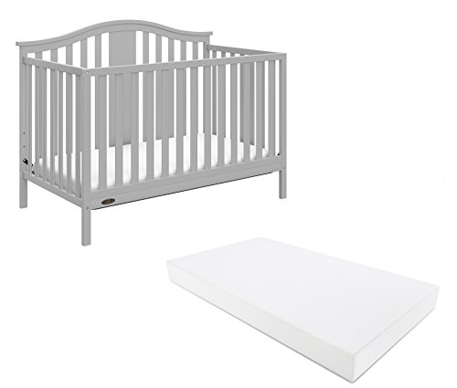 Graco Solano 4-in-1 Convertible Crib With Mattress, Pebble Gray, Easily Converts to Toddler Bed Day Bed or Full Bed, Three Position Adjustable Height Mattress (Mattress Included)