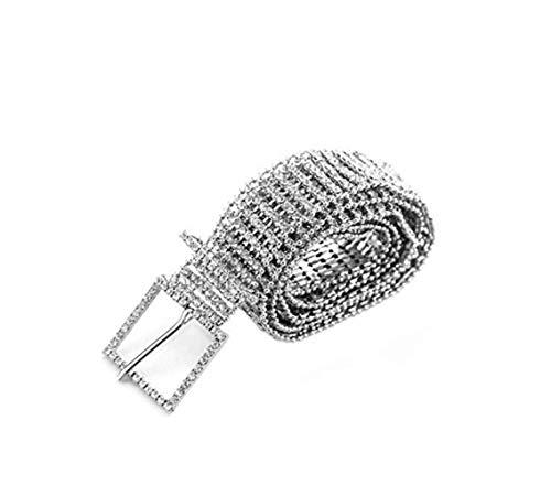 Greetuny Cinture da donna 1pcs pieno strass moda argento catena vita brillante cristallo lombare cintura cintura donna partito (piccolo)