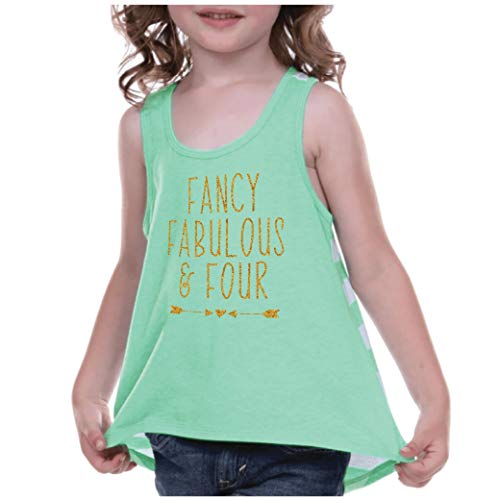 6th Birthday Tank Top Girl 4th Birthday Outfit Fancy Fabulous and Four Green