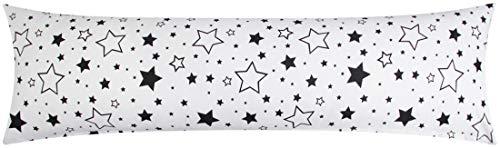 Heubergshop Baumwoll Renforcé Seitenschläferkissen Bezug 40x145cm - Große und kleine Sterne in schwarz - 100% Baumwolle Stillkissenbezug (KY-376-9)
