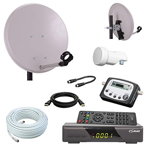 netshop 25 Digital Camping SAT Anlage 40 cm Spiegel + HD Sat Receiver + Digitaler SAT Finder + HD Single LNB + 10m Kabel