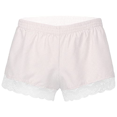 TiaoBug Herren Boxershorts Hipster Trunks mit Rüschen Retro Shorts Männer Sissy Bikini Briefs Vintage Unterwäsche Unterhose Neuheit Rosa Kariert L