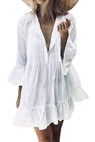 L-Peach Damen Pareo Bikini Cover Up Sommer Lose Baumwolle V-Ausschnitt Tunika Langes Shirt Überwurf Strandkleid Sommerkleid One Size