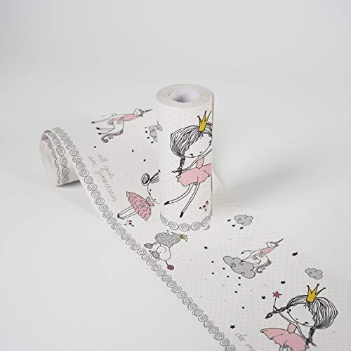 Kinderzimmer Bordüre selbstklebend Magic Princess Wandbordüre Prinzessin für Babyzimmer und Kinderzimmer Wandtattoo für Mädchen und Jungen in weiß, grau, rosa, schwarz