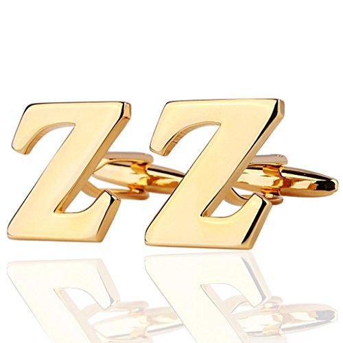 AmDxD Bijoux Chemises Collections de boutons de manchette pour homme Lettre de l'alphabet Z Doré Environ 18 20