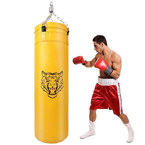 BHDYHM Boxsack gefüllt schwere Boxsack for das Boxtraining Wasser-Beweis-Beutel-Halter-Kette Stanzen Trainings Boxhandschuh for Training Fitness MMA Kickboxen, Muay Thai, Karate (Color : Yellow)
