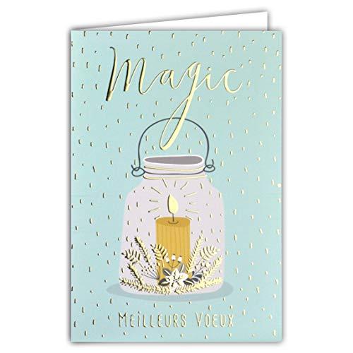 Kaart Beste wensen Magic kaars Luminion Poinsettia sneeuwwit goud verguld