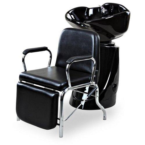 "Icarus""Liger"" Black Reclining Salon Shampoo Chair Backwash Unit Package"