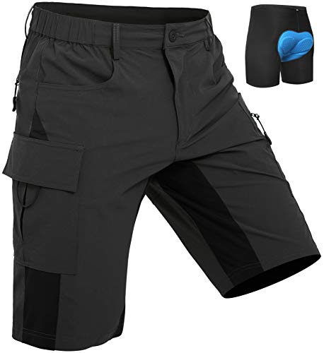 Wespornow Men's-MTB-Shorts Mountain-Bike-Shorts Loose-Fit-Baggy-Cycling-Bicycle-Biking-Shorts (Black, X-Large)