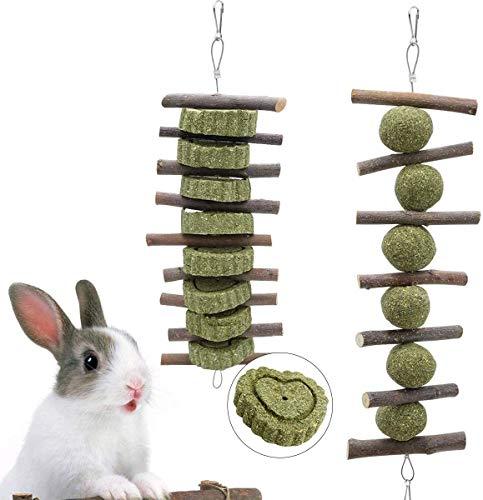 Juguetes para masticar pequeños juego de 2 juguetes para masticar para dientes, aperitivos naturales de manzana orgánica con bolas de hierba para mascotas, hámsters, loros, mejorar la salud dental